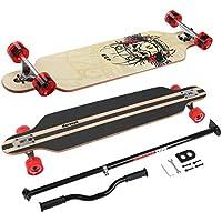 Longboard Skateboard MARONAD drop through Race Cruiser ABEC-11 Skateboard 104x24 cm Streetsurfer patinar FUN, Modell Streetsurfer - Totenkopf + MARONAD STICK