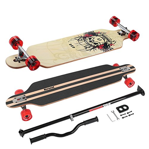Longboard Skateboard MARONAD drop through Race Cruiser ABEC-11 Skateboard 104x24 cm Streetsurfer patinar FUN, Modell Streetsurfer - Totenkopf + MARONAD STICK