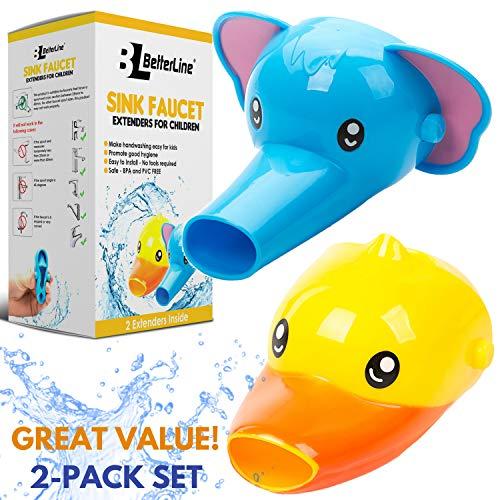 Extensor de grifo para niños-Set de 2extensores de boquilla con formas de animales para lavabos-Para lavar las manos de bebés y niños pequeños. (Elefante + pato)