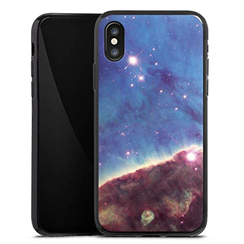Apple iPhone X Silikon Hülle Case Schutzhülle Gabriela Mistral Nebel Space Galaxy Silikon Case schwarz