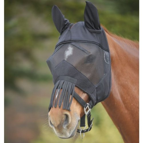 unbekannt Fliegenmaske Premium mit Ohrenschutz und Nasenfransen, schwarz, WB