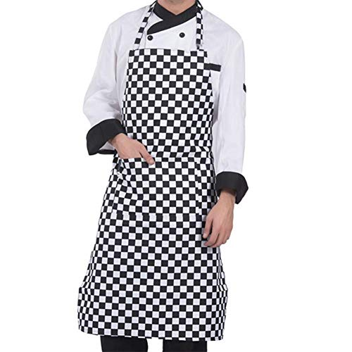 Küche Kochschürze Mit Taschen Koch Lätzchen Mit Verstellbaren Restaurant Unisex Schürze Küchenschürze Baumwolle Belastbar & Einfach Zu Reinigen - Perfekt Auch Als Grillschürze Und Backschürze - Baumwolle-verstellbare Schürze