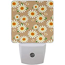 L-e-d Night Light Daisy Flower Floral Pattern, Auto Senor Dusk to Dawn Night Light Plug for Kids Baby Girls Boys Adultos Habitación