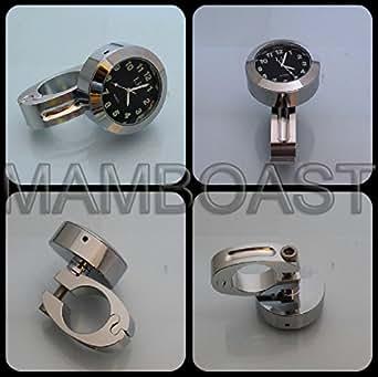 """Montre Horloge de Guidon Universelle Pour Moto 22mm-25mm Chrome Noir 7/8"""" to 1"""""""