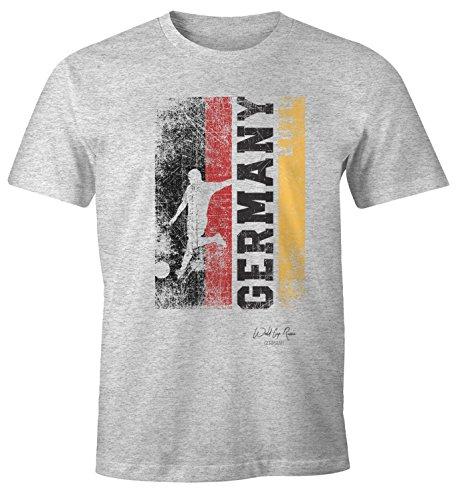 MoonWorks Herren Fan-Shirt Deutschland Flagge Vintage WM 2018 Fußball Weltmeisterschaft Trikot Grau-Meliert XXL