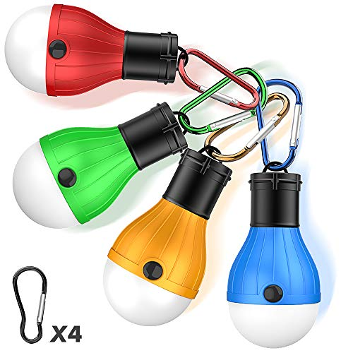 LED Lámpara Camping,TesRank 4 Piezas Lámpara Tienda Impermeable Luces Exterior Bombilla Linternas Portátiles Farol Luz de Campaña Acampada con Mosquetón para Emergencia, Pesca, Senderismo, Caza