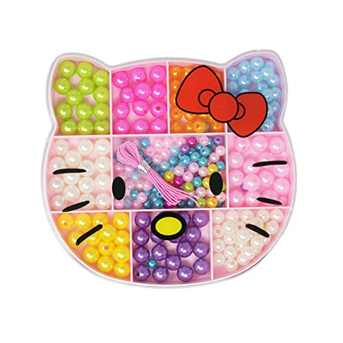 Tootpado Bead Jewelry Making Kits DIY for Bracelet Necklace with Box and Elastic Band Kitty Design - (1TNG611)