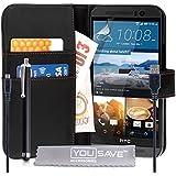 Yousave Accessories HTC One (M9) 2015Fall PU Leder Wallet Cover mit Stylus Pen und Micro-USB Kabel–Schwarz