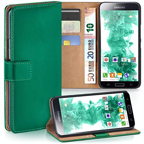 moex Samsung Galaxy S5 Mini | Hülle Dunkel-Grün mit Karten-Fach 360° Book Klapp-Hülle Handytasche Kunst-Leder Handyhülle für Samsung Galaxy S5 Mini Case Flip Cover Schutzhülle Tasche