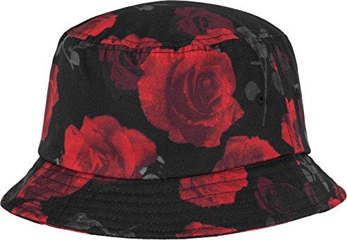 Flexfit Roses Bucket Hat Mützen, Blk/Red, one Size