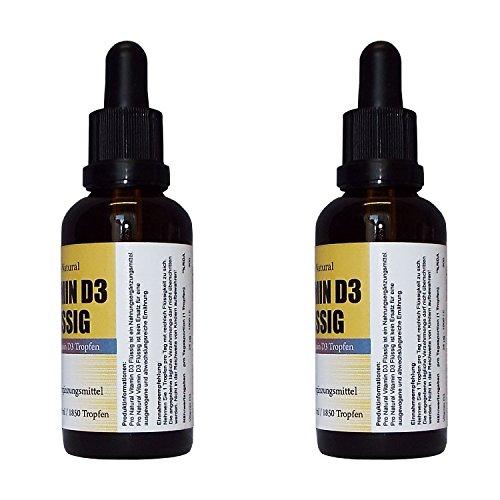 Premium Vitamin D3 Flüssig ▪ 100ml = 3700 Tropfen ▪ 1 Tropfen = 25µg (1000 I.E.) ▪ in MCT Öl gelöst ▪ Vitamin D3 Tropfen hochdosiert ▪ vegan ▪ Made in Germany ▪ 2