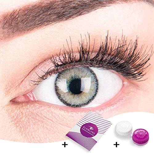 """Sehr stark deckende und natürliche graue Kontaktlinsen SILIKON COMFORT NEUHEIT farbig \""""Mirel Grey\"""" + Behälter von GLAMLENS - 1 Paar (2 Stück) - DIA 14.00 - ohne Stärke 0.00 Dioptrien"""