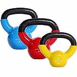 3Stück KettleBell »Kolossos« Kugelhantel bis zu 45kg Gesamtgewicht wählbar / Handgewicht bzw. Rundgewicht aus 100% Eisen mit Vinyloberfläche / High Performance Studio-Qualität ideal Krafttraining, Gymnastik, Functional-Training, CrossFit und Heimtraining. Das Kettlebell-Set beinhaltet jeweils 3 Kettlebells je nach Auswahl 2kg-gelb/4kg-rot & 8kg-himmelblau