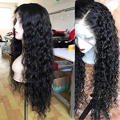 Andria Curly Hair Lace Front Wigs Synthetic Long Wigs Heat Resistant Fiber Hair for Black Women 26 Inch Curly Black Color Hair -