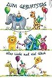 Geburtstagskarte mit Musik, Zirkustiere und Clown - Kinder Geburtstag