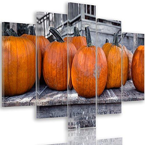 Feeby Frames, Grande Formato Quadro multipannello di 5 pannelli, Quadro su tela, Stampa artistica, Canvas XXL, Tipo A, 140x300 cm, ZUCCA, ORTAGGIO, ORANGE, RUSTICO