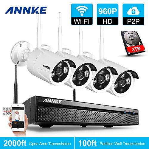 ANNKE Kit Sorveglianza wifi NVR 1080P 4 Canali 4 IP Telecamera Sorveglianza 960P Videocamera Sorveglianza CCTV P2P H.264 IP66 Avviso E-mail 100ft/30m Manuale Italiano 3TB HDD