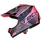 Casque de Moto pour Enfant Motocross Cross Off-Road Noir Mat ATV Quad - Rose - S