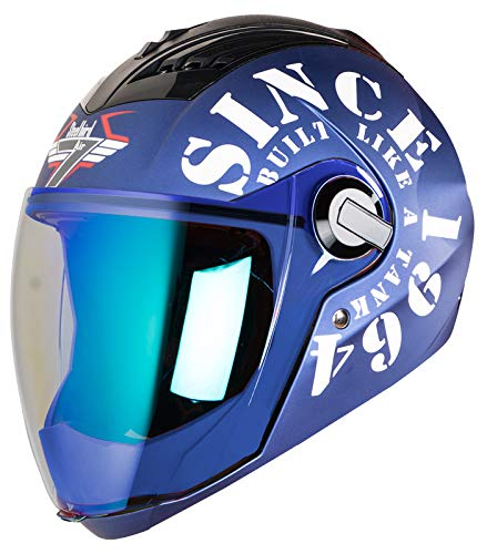 Steelbird SBA-2 TANK with Night Vision visor in Matt Finish (Large 600MM, Y Blue/White)