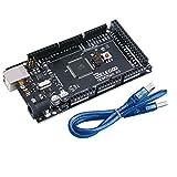 Elegoo Mega 2560 R3 Tarjeta Mega 2560 Placa con Microcontrolador Basada en el ATmega2560 ATMEGA16U2 con USB Cable Negro Versión Compatible con Arduino Mega Kit