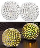 Lunartec Led Batterie Leuchten: Kabellose LED-Dekoleuchten aus Keramik im 2er-Set