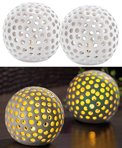 Lunartec Keramikkugeln mit Licht: Kabellose LED-Dekoleuchten aus Keramik im 2er-Set (Leuchtkugel Keramik)