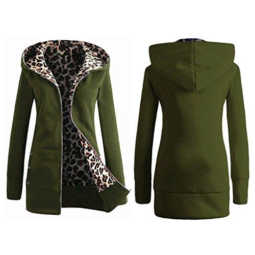 SHOBDW Mujeres de terciopelo más gruesa sudadera con capucha leopardo cremallera abrigo...