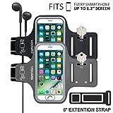[2 Pack] VGUARD Fascia Da Braccio Sportiva Universale 6.2'' Resistente all'Acqua Sweatproof Bracciale per Corsa & Esercizi con Cinturino Regolabile, Portachiavi, Porta Scheda e Riflettente Armband per Smartphone meno di 6.2 pollici come iPhone X / 8 Plus / 7 Plus / 6s Plus / 7 / 6 / 6s / 5s / 5c / 5 , Samsung Galaxy S8+ / S8 / S7 / S7 Edge / S6 / S5, Huawei P10 / P9 / Honor 8, Nexus 6P / 5X, ASUS, LG, Motorola, ecc (Nero+Grigio)