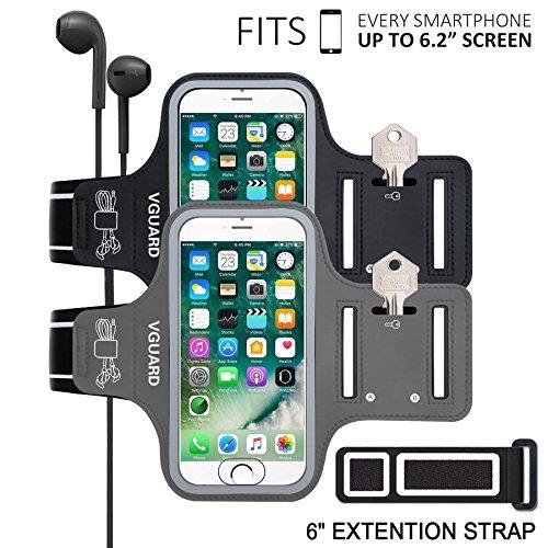 """VGUARD [2 Pack] Fascia da Braccio Sportiva Universale 6.5"""" Resistente Sweatproof Fascia per Corsa&Esercizi con Cinturino Fascia da Braccio per Smartphone, Huawei P20, iPhone 11 Pro/11/X (Nero+Grigio)"""