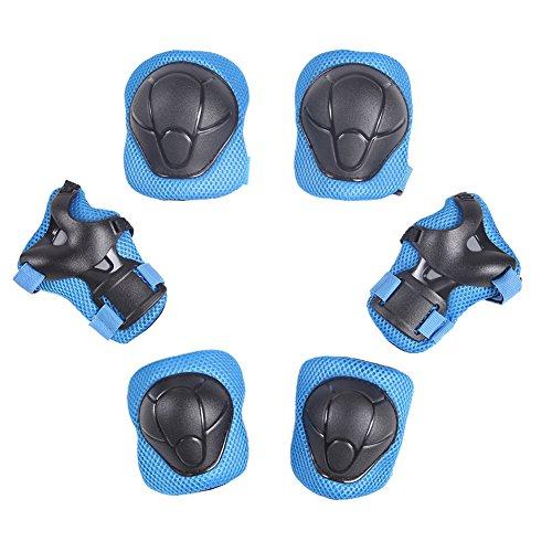 CHIC-CHIC 6 pcs Kinder Schutzausrüstung Sets Skater Armschoner Knieschoner Handgelenk Ski Schutz Roll (Blau)