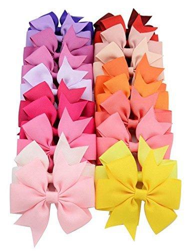 Kuke 40 pc/Pack Haarbögen Band Haarband Clip Farbe Reiner Haarschmuck Haarschmuck für Neugeborene ()
