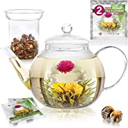 Teabloom Stovetop & Microwave Safe Glass Teapot (40 OZ / 1200 ML) with Removable Loose Tea Glass Infuser –