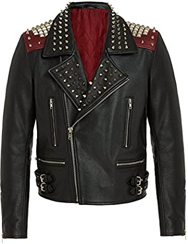 Veste Mode Homme Noir Rouge en Cuir - Blouson Moto Biker Style Cool Fashion Vintage Rock avec Fermeture Asymétrique - Vestes Doublees Vachette de Qualite - S M L XL XXL