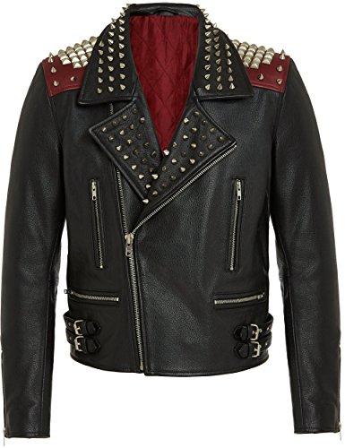 Herren Designer Fashion Biker Lederjacke, Schwarz - Rot, 100% Leder, Metal Zips and Studs, Trendy Vintage Rock Style Bikerjacke For Männer XS S M L XL XXL
