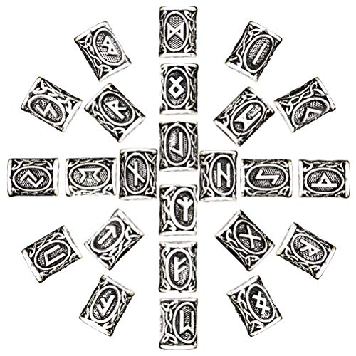 Vanproo 24 Stück Wikinger Nordische Runen Perlen Antik-Silber Norse Charms Findings für Armband Anhänger Halskette Bart Dreadlocks Haar DIY Armband Schmuck Anhänger (Norse-anhänger)