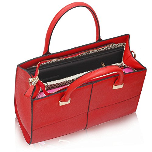 LeahWard® Genuine Simili Cuir Tote Sac Betoulière Sac Femme Gret Styliste Gret Check Sacs 153 XL Taille red