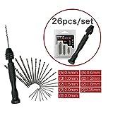 lzn 26pcs HSS Micro Bohrer Set 0,5 bis 3 mm mit Hand Twist Drill Chuck Metallbohrer Spiralbohrer Bohrersets Werkzeuge