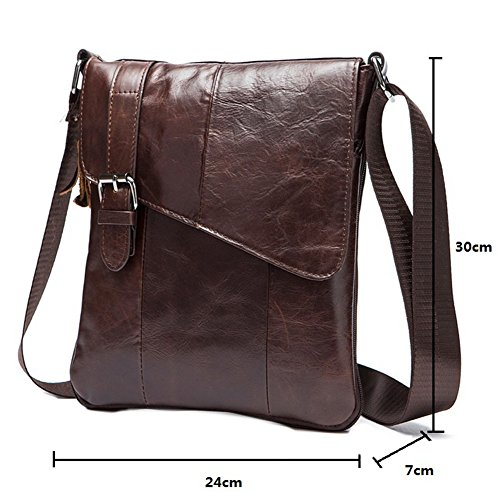 Genda 2Archer Uomo ipad flapover Bag vera pelle Cross Over Borsa a tracolla (Marrone chiaro) Marrone scuro