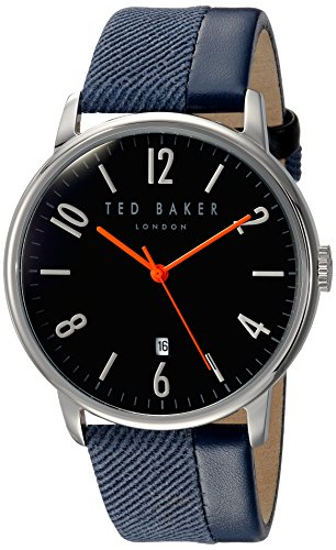 Ted Baker Men's 'DANIEL' Quartz Stainless Steel and Leather Dress Watch, Color:Blue (Model: 10031568)