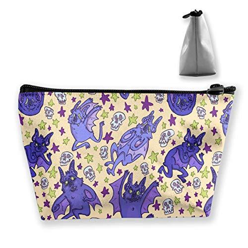 Makeup Bag Cosmetic Bat Animal Wings Shape Portable Cosmetic Bag Mobile Trapezoidal Storage Bag Travel Bags with Zipper Bebe Satin