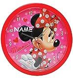 alles-meine.de GmbH Wanduhr -  Disney Minnie Mouse  - incl. Name - 25 cm groß - sehr leise ! - Uhr - Analog - Wohnzimmer & Kinderzimmer - für Mädchen Kinder - Kinderuhr - Maus ..