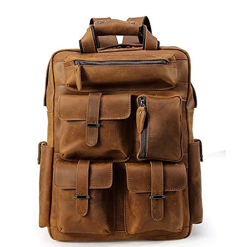 ZQY Leder Multifunktions-Laptop-Rucksack-Männer Rucksack Große Kapazität Outdoor Leisure Travel Business-Rucksack (Color : A) -