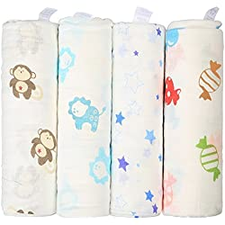 InnooBaby Pucktücher aus Musselin 4er-Pack Weiche und kuschelige Puckdecken für Schreibabys | 120 x 120 cm große Babydecken | 100% Baumwolle | Unisex Musselin und farbenfrohe Drucke