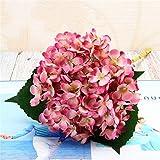 Jun7L Künstlich Hortensie Blüten Seide Gefälschte Blume Blumenstrauß Arrangieren Familie Hochzeit Garten Blume Dekoration Hortensie (3Pcs) Rosenrot 52x18cm