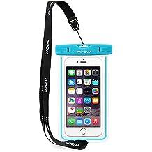 Mpow Funda Impermeable Móvil Universal 6 Pulgadas, Bolsa Movil Playa a Pruebva de Agua y Polvo de Suciedad, Funda Movil Agua IPX8 para iPhone 6 6s 5s 5c 4, Huawei p9 p8, Bq, LG, Xiaomi Android – Azul
