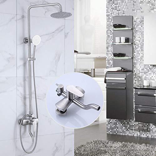 Hbbhbb Bad Dusche Wasserhahn Set Square Drei Datei 304 Edelstahl Bad Aufzug Dusche -