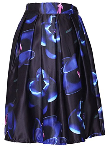 Helan Donna A vita alta Ruffle gonna floreale Vintage Blu Flowers Navy