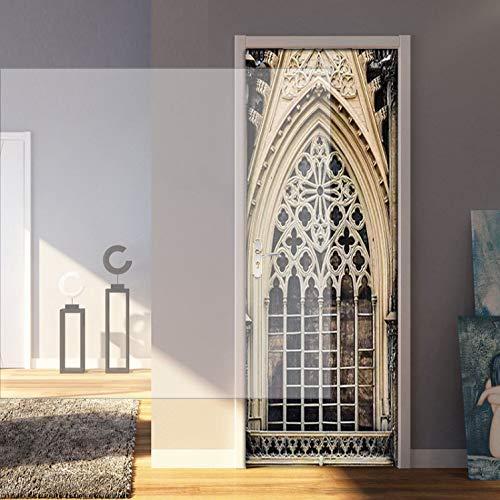 asfrata265 European-Style Construction Iron Frame 3D Door Stickers PVC Self-Adhesive Wallpaper Poster Living Room Door Decor Mural Decals 77X200Cm