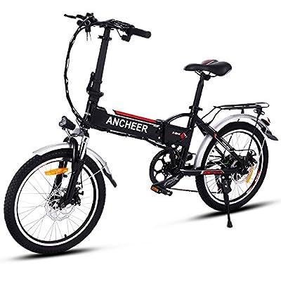 ANCHEER Elektrofahrrad Faltbares E-Bike, Klapprad mit 250W Hochgeschwindigkeits-Bürstenlose Motor, 36V Große Kapazität Lithium-Akku und Shimano Zahnrad Schwarz (14 inch/ 20 inch/26 inch)