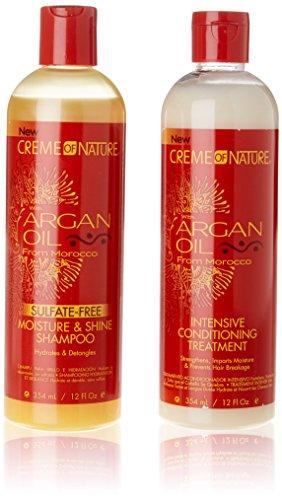 Creme of Nature Shampoing et soin sans sulfate à l'huile d'argan du Maroc, hydratation intense